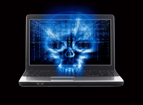 Skull on computer screen