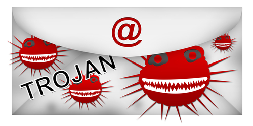 Envelope with trojan virus concept