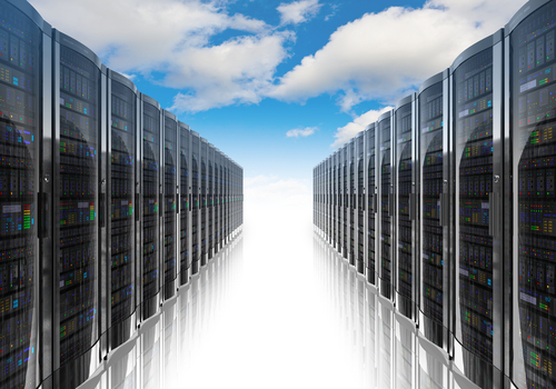 Servers in front of clouds