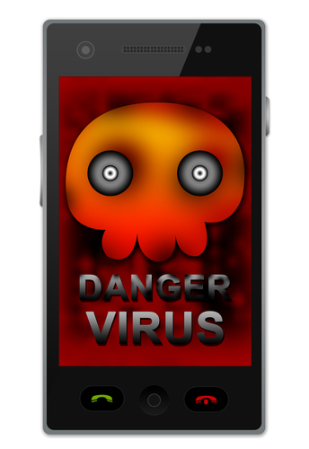 Virus illustration on smartphone