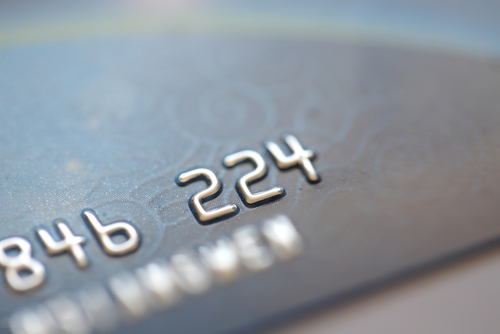 Close up of credit card numbers