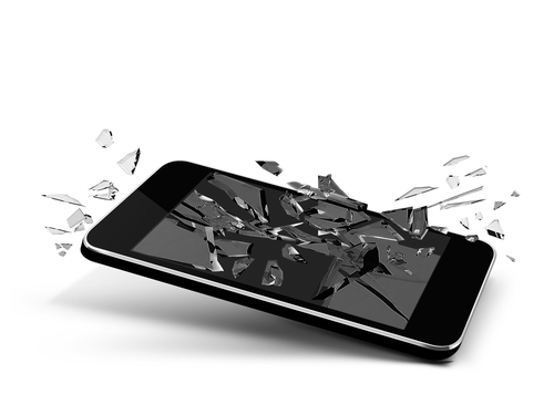 Smartphone with screen shattering